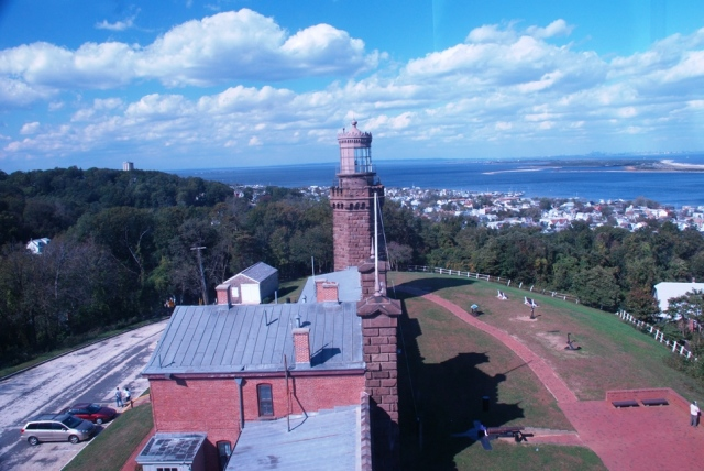 Navasink Lighthouse from the south tower looking down toward Sandy Hook, New Jersey (across the water) and at the north tower.