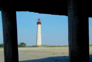 Cape May Lighthouse viewed from under the World War II bunker about 100 yards down the beach.